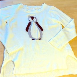 LC Lauren Conrad White Penguin Bling Sweater
